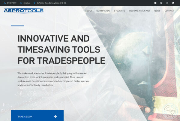 Aspro Tools website design – home page
