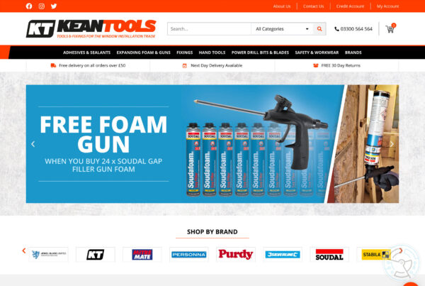 Kean Tools ecommerce website home page