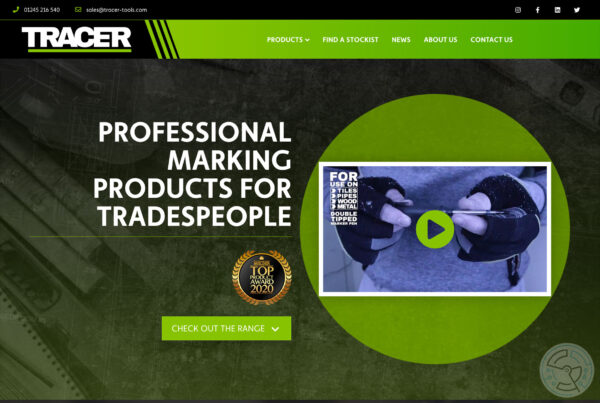 TRACER Tools website design – home page