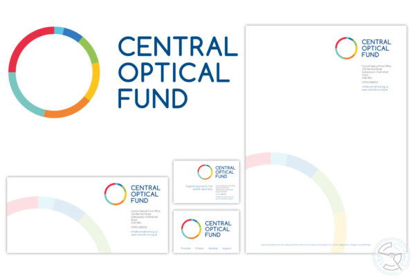 Central Optical Fund logo and stationary design