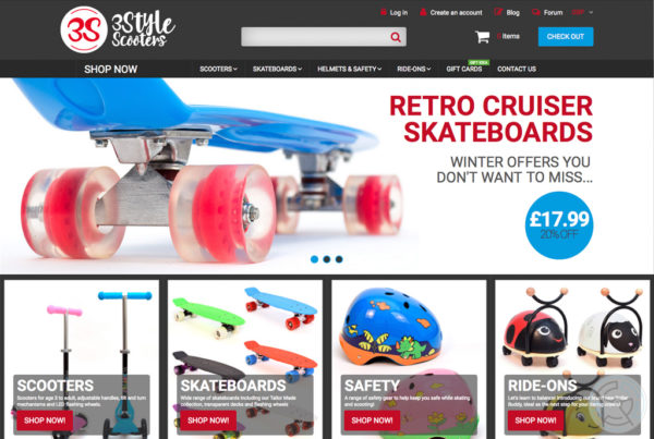 3Style Scooters website, branding, product photos
