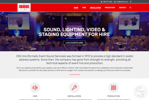 ESS Hire website